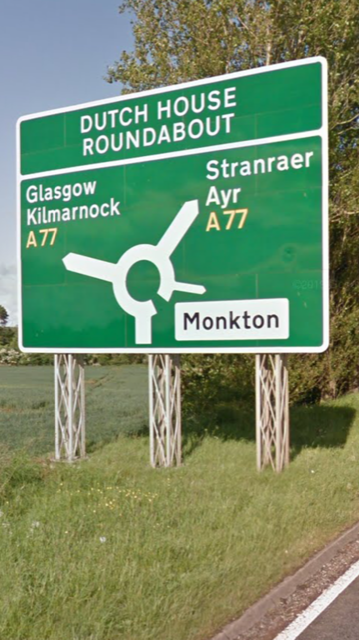 Taxi to/from Kilmarnock road sign